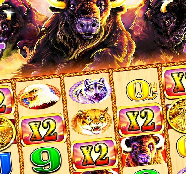 Charge into winnings with Buffalo Slots by Aristocrat